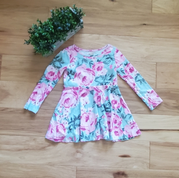 The Children's Place Teal Floral Dress 3T